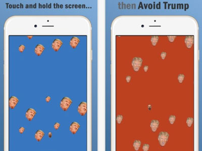 Avoid Trump - The free mobile app called Avoid Trump is a simple but addictive game of navigating through a maze of Trump heads without touching any.