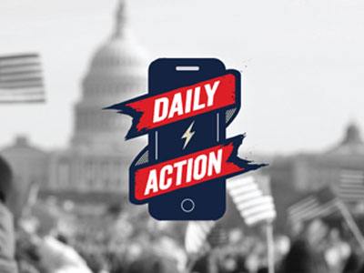Daily Action - Subscribers receive a single thing to do every day, such as call the Customs and Border Patrol office at every major airport to demand they release data on how many people were detained under the President Trump's travel ban. (CPD released the data the night after Daily Action's call went out).